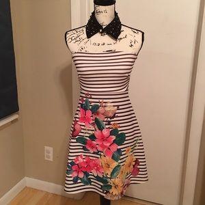 Aqua strapless floral dress size M